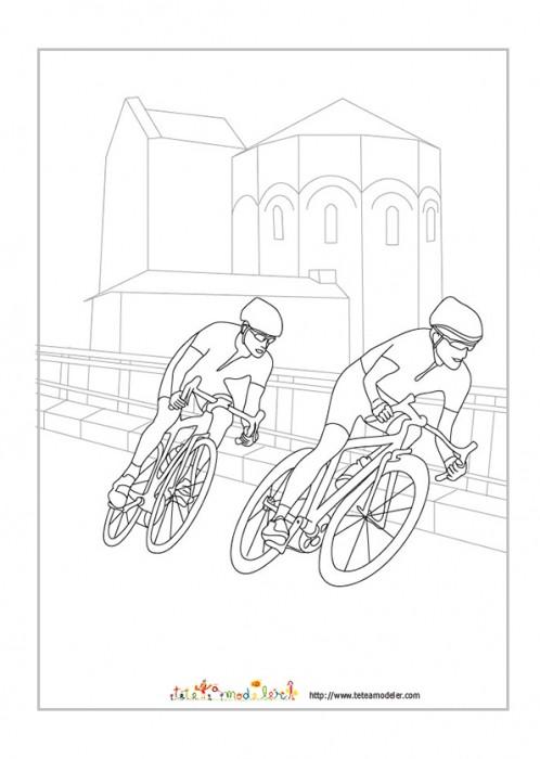 Coloriage et dessins gratuits Cyclistes en course à imprimer