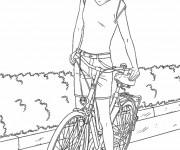 Coloriage Fille Cycliste