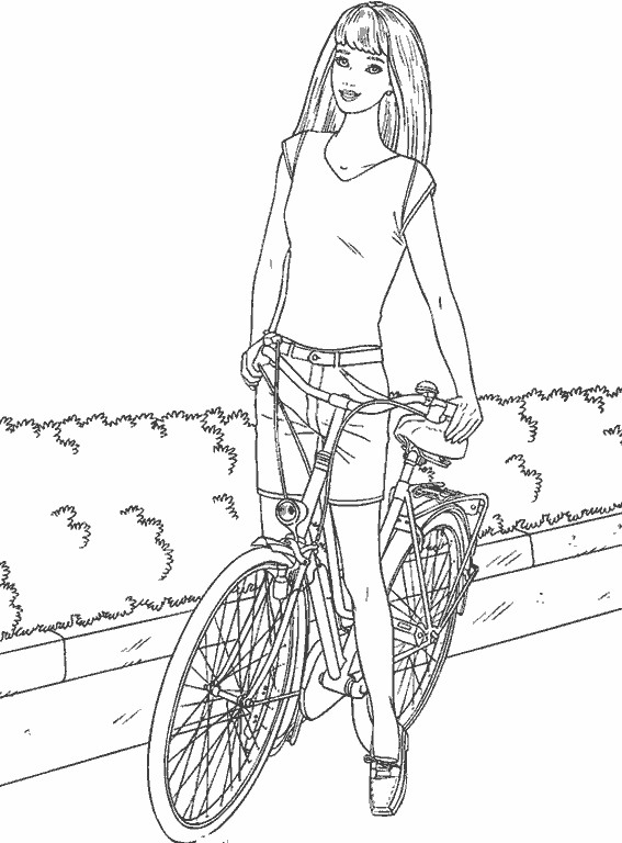 Coloriage et dessins gratuits Fille Cycliste à imprimer