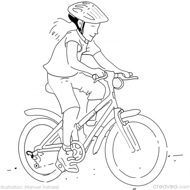 Coloriage fille cycliste colorier dessin gratuit imprimer - Dessin velo vtt ...