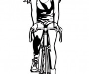 Coloriage Fille Cycliste vecteur