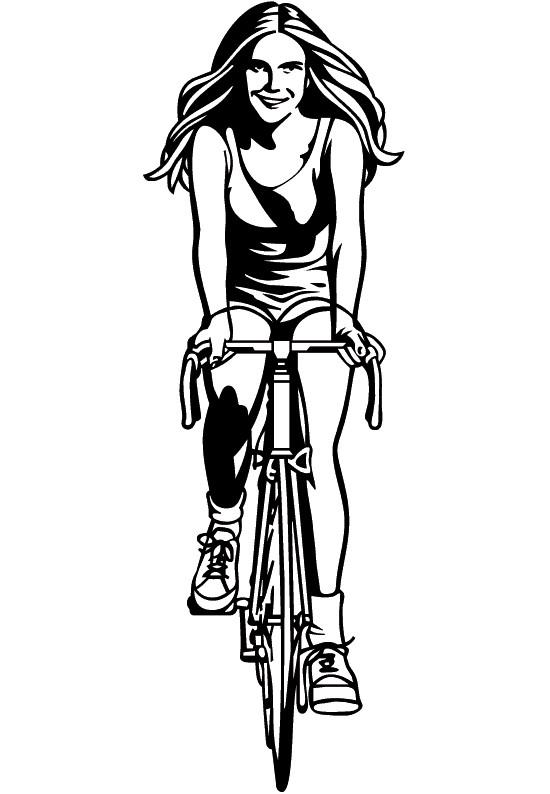 Coloriage fille cycliste vecteur dessin gratuit imprimer - Dessin cycliste humoristique ...