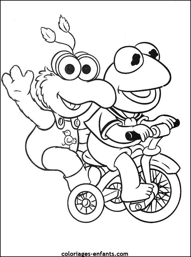 Coloriage et dessins gratuits Grenouille sur Vélo à imprimer
