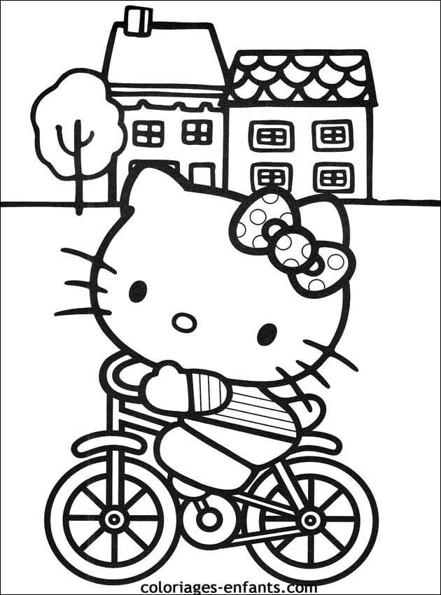 Coloriage et dessins gratuits Hello Kitty sur Vélo à imprimer