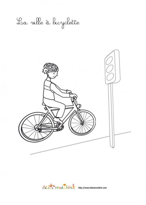 Coloriage et dessins gratuits La Ville à Bicyclette à imprimer