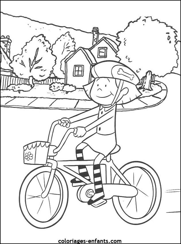 Coloriage et dessins gratuits Petite Cycliste devant sa maison à imprimer