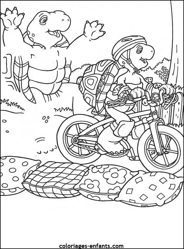 Coloriage et dessins gratuits Tortue Cycliste à imprimer