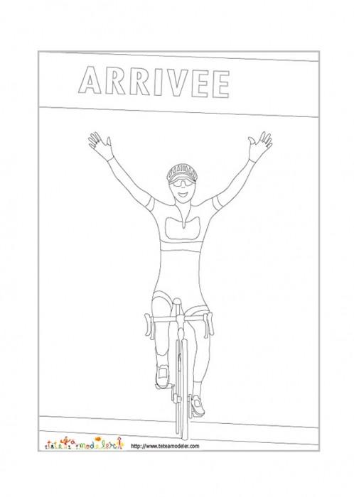 Coloriage et dessins gratuits Un Cycliste gagnant à imprimer