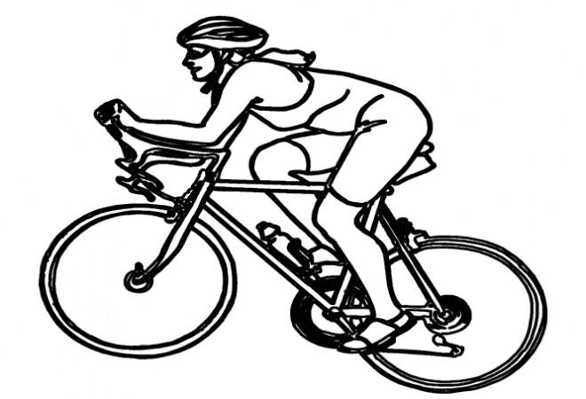 Coloriage Cycliste sur VTT dessin gratuit à imprimer