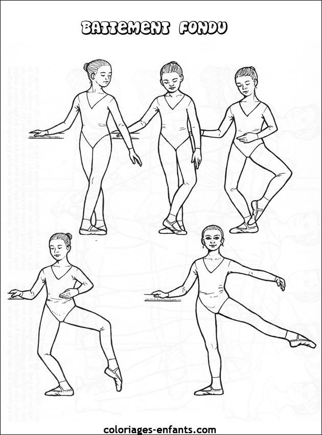 Coloriage danse ballet battement fondu dessin gratuit - Coloriage de danse ...