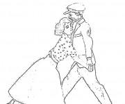 Coloriage Danse des années soixante