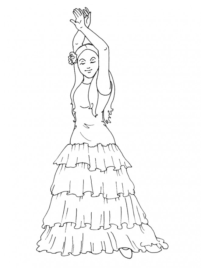 Coloriage danse flamenco dessin gratuit imprimer - Dessin de danseuse moderne jazz ...