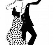 Coloriage Danseurs élégants