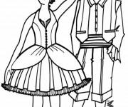 Coloriage Danseurs traditionnelles