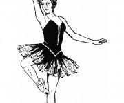 Coloriage Danseuse de Ballet en noir et blanc