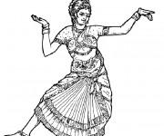 Coloriage Danseuse hindoue stylisé