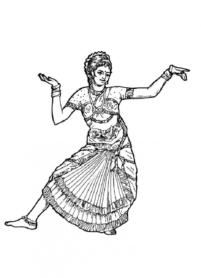 Coloriage danseuse hindoue stylis dessin gratuit imprimer - Dessin anime danseuse ...