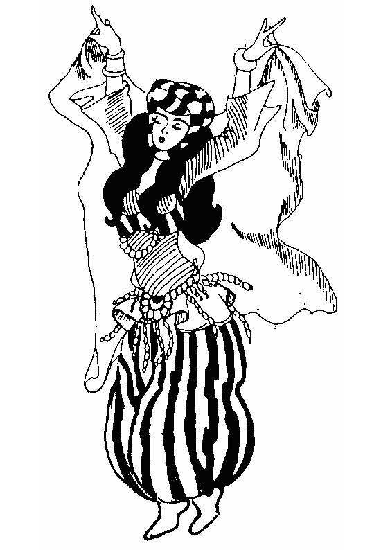 Coloriage danseuse orientale couleur dessin gratuit imprimer - Dessin anime danseuse ...