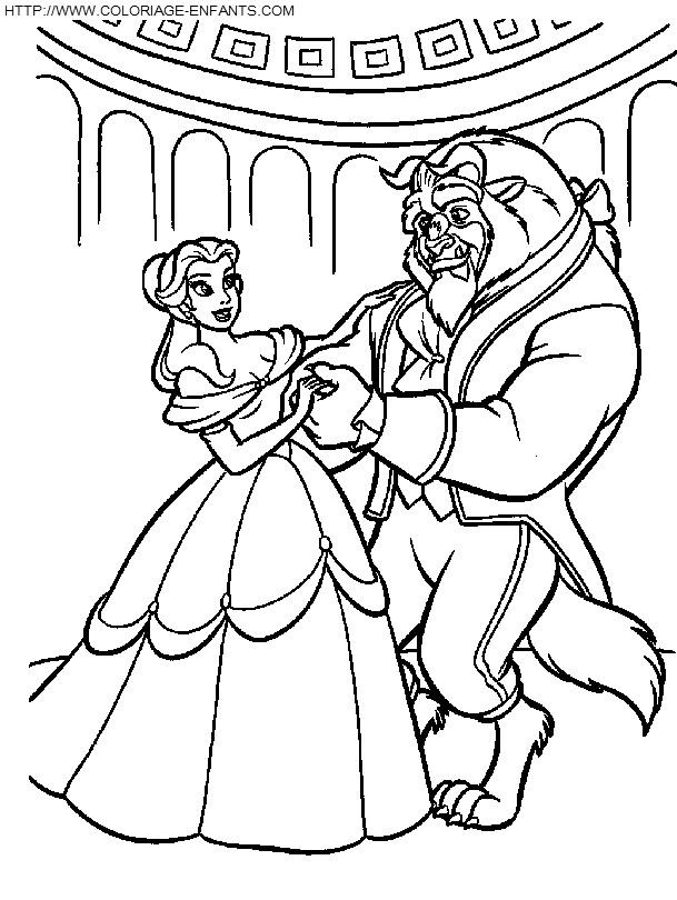 Coloriage et dessins gratuits la princesse et la bête dansent à imprimer