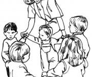 Coloriage Les enfant s'amusent en dansant