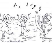 Coloriage et dessins gratuit Les Enfants Dansent à imprimer
