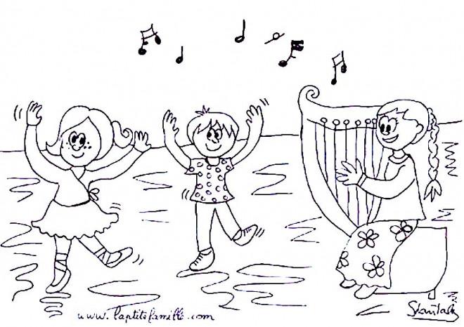Coloriage et dessins gratuits Les Enfants Dansent à imprimer