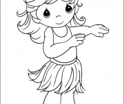 Coloriage Petite Danseuse hawaïenne