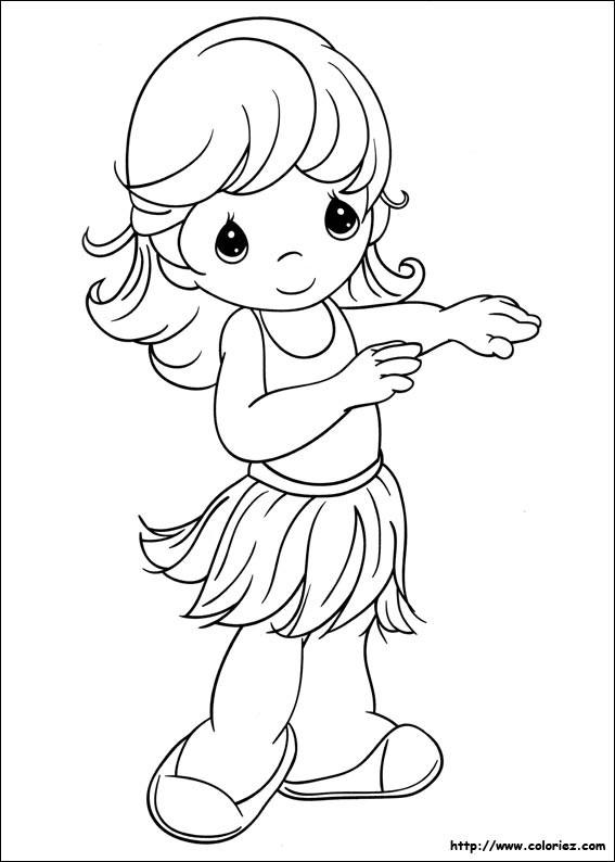 Coloriage et dessins gratuits Petite Danseuse hawaïenne à imprimer