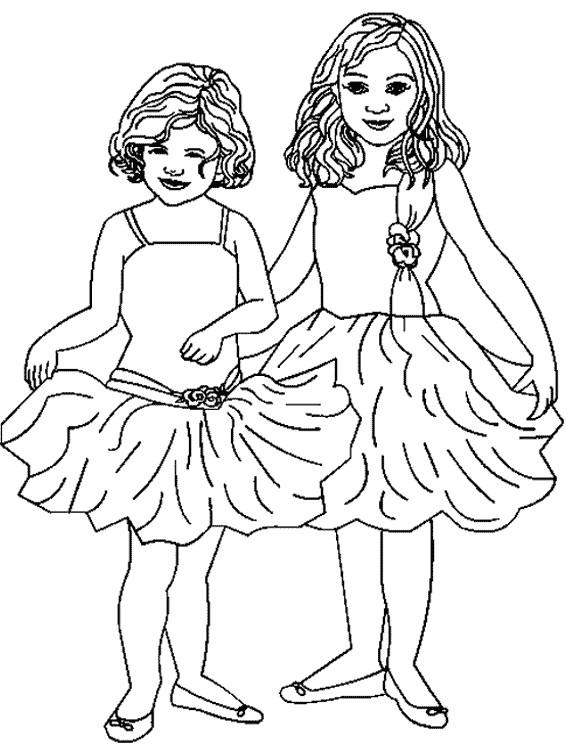 Coloriage et dessins gratuits Petites fille en Dansant à imprimer