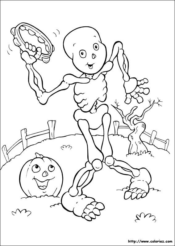 Coloriage et dessins gratuits Squelette qui Danse à imprimer