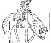Coloriage et dessins gratuit Barbie fait de l'équitation à imprimer