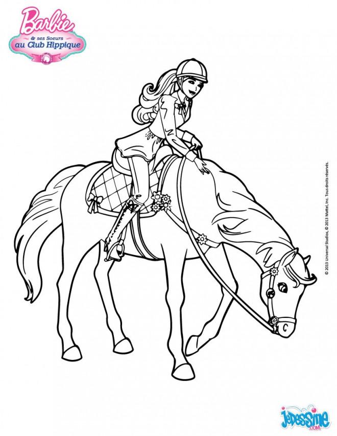 Coloriage barbie fait de l 39 quitation dessin gratuit - Barbie chevaux ...