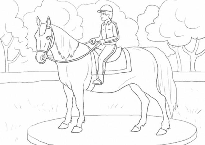Coloriage et dessins gratuits Cavalier et cheval dessiné à imprimer