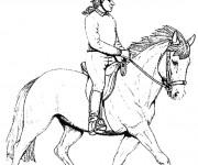 Coloriage et dessins gratuit Cavalier sur Cheval à imprimer