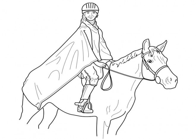 Coloriage et dessins gratuits Cavalière couverte sur son cheval à imprimer