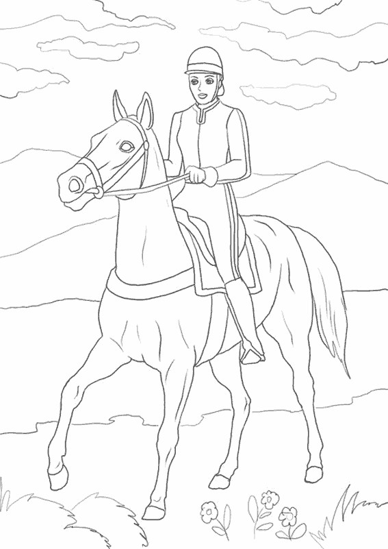 Coloriage et dessins gratuits Cavalière sur son cheval sous le ciel à imprimer