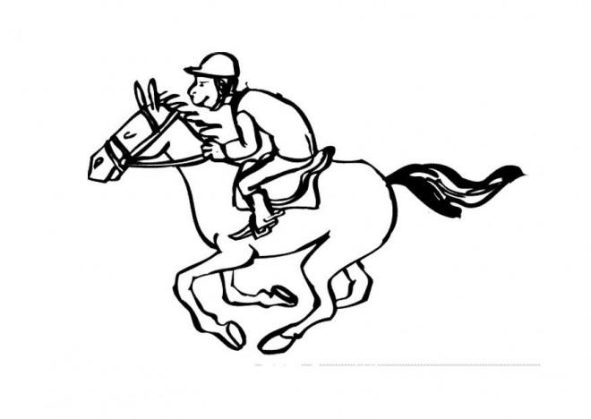 Coloriage et dessins gratuits Cheval et son cavalier pendant la course à imprimer