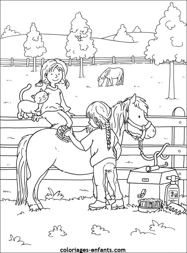 Coloriage et dessins gratuits Chevaux à la ferme équestre à imprimer