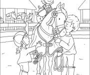Coloriage et dessins gratuit Enfants autour de Cavalier gagnant à imprimer