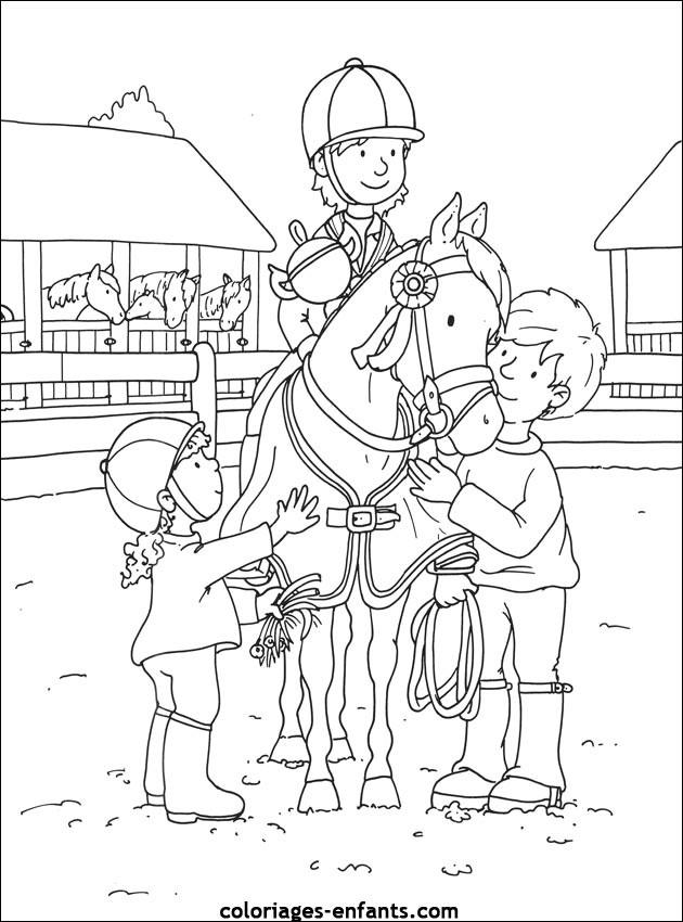Coloriage enfants autour de cavalier gagnant dessin gratuit imprimer - Dessin anime avec des poneys ...