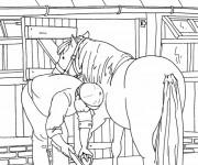 Coloriage et dessins gratuit Entretien des chevaux à imprimer