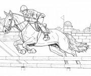 Coloriage et dessins gratuit Équitation  course à imprimer