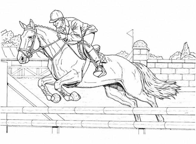 Coloriage quitation course dessin gratuit imprimer - Coloriage equitation ...