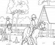 Coloriage et dessins gratuit Équitation en couleur à imprimer