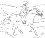 Coloriage et dessins gratuit Équitation  en plein air à imprimer