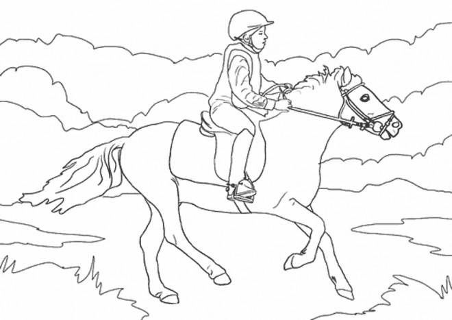 Coloriage et dessins gratuits Équitation  en plein air à imprimer