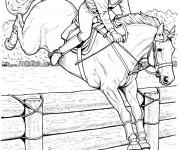 Coloriage et dessins gratuit Équitation et Cavalier stylisé à imprimer