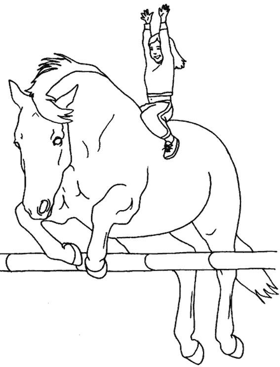 Coloriage et dessins gratuits fille heureuse sur le cheval à imprimer