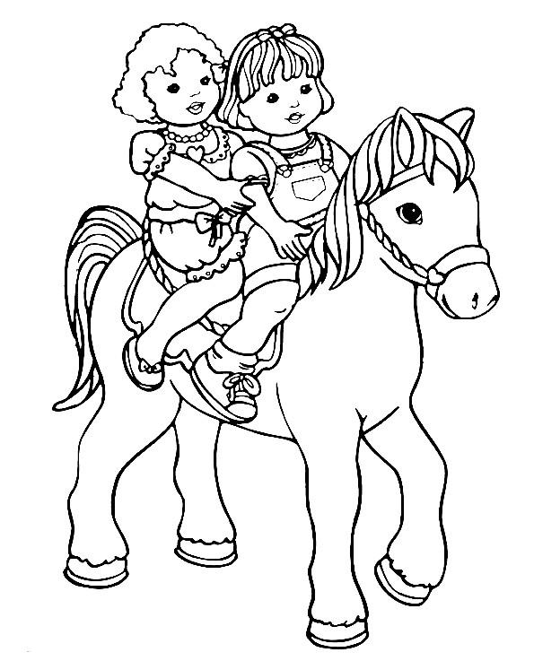 Coloriage et dessins gratuits Filles mignonnes sur cheval à imprimer