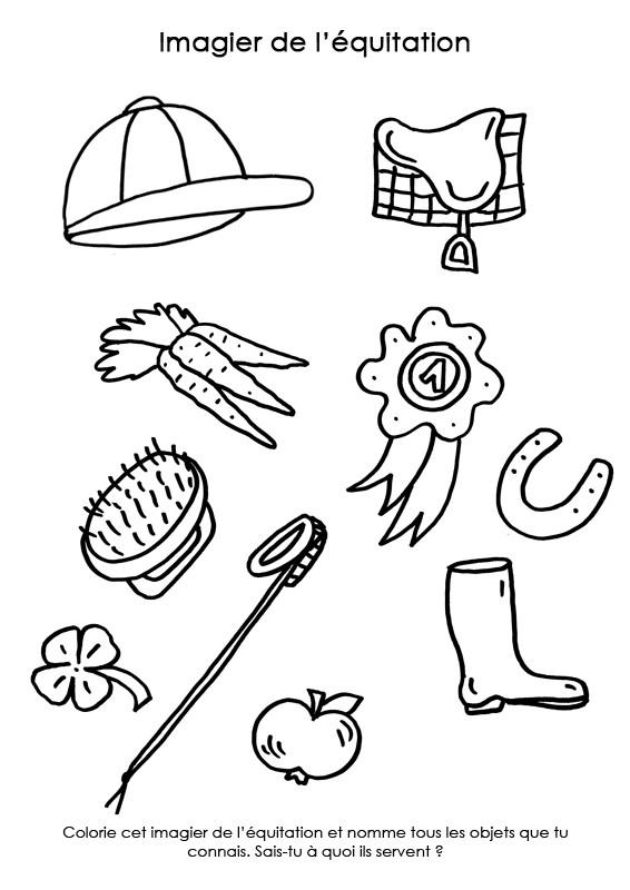 Coloriage et dessins gratuits Imagier de L'Équitation à imprimer